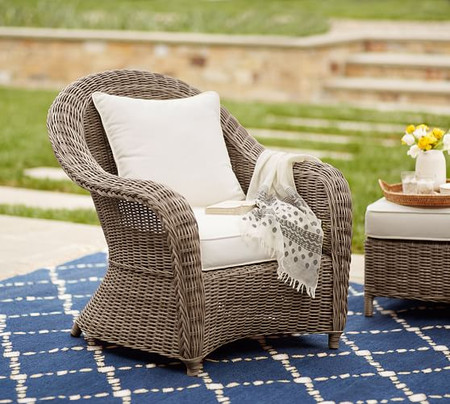 Torrey All-Weather Wicker Roll Arm Lounge Chair, Natural