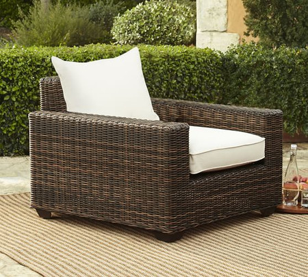 Torrey All-Weather Wicker Square Arm Occasional Chair, Espresso