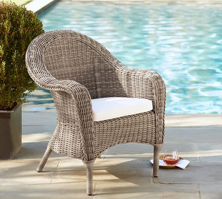 Torrey All-Weather Wicker Roll Arm Dining Chair, Natural