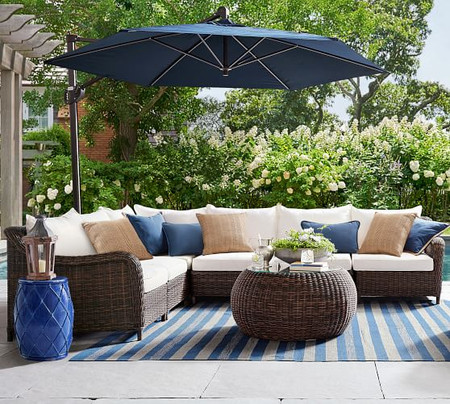 Torrey All-Weather Wicker Roll Arm Sectional Set, Espresso