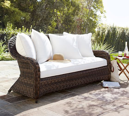 Torrey All-Weather Wicker Roll Arm Sofa, Espresso