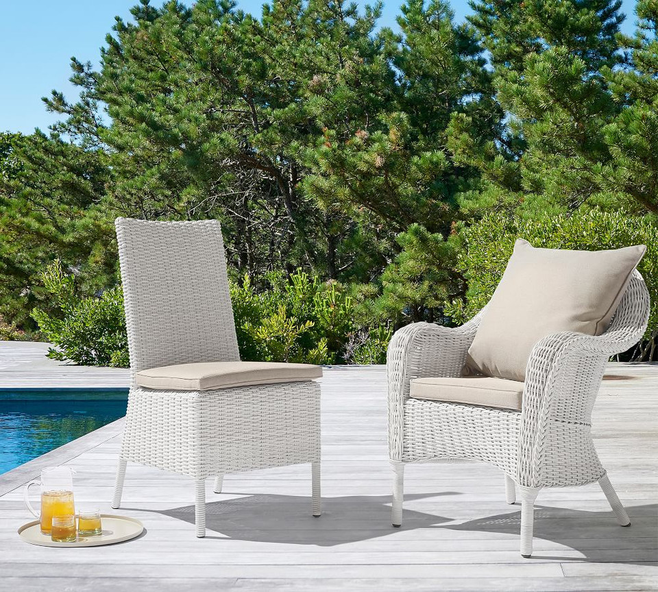 Torrey All-Weather Wicker Dining Side Chair, White Wash