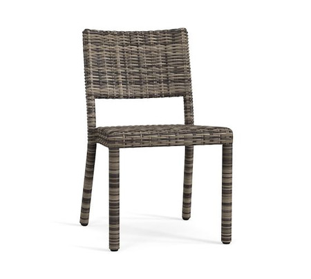 Torrey All-Weather Wicker Stackable Dining Chair, Charcoal Gray