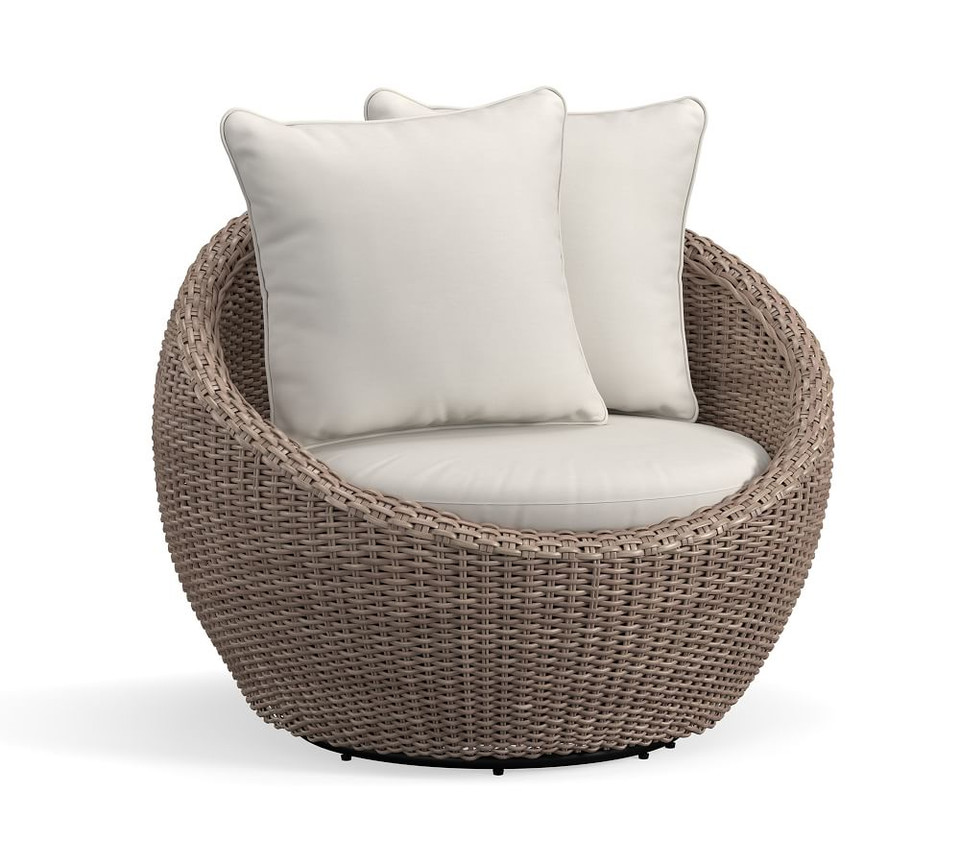 Torrey All-Weather Wicker Papasan Swivel Chair, Natural