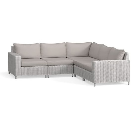Build Your Own - Torrey All-Weather Wicker Square Arm Sectional Components, White Wash