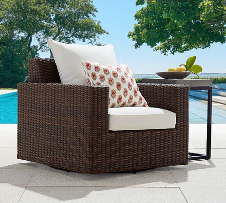 Torrey All-Weather Wicker Square Arm Swivel Lounge Chair, Espresso