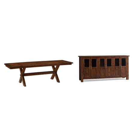 Toscana Extending Dining Table + Buffet, Tuscan Chestnut