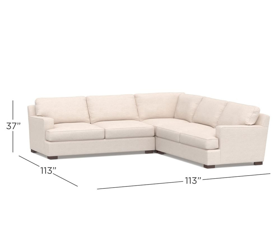 Townsend Square Arm Upholstered 3-Piece L Shaped Sectional