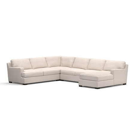 Townsend Square Arm Upholstered 4-Piece Sectional with Chaise