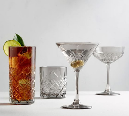 Trellis Etched Cocktail Glasses Collection