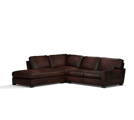 Turner Square Arm Burnished Leather 3-Piece Bumper Sectional