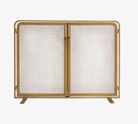 Vail Glass Fireplace Screen with Doors