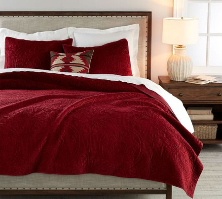 Velvet Medallion Quilt & Shams - Ruby