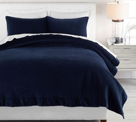 Velvet Channel Quilt & Shams - Twilight