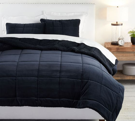 Velvet Sherpa Reversible Quilt & Shams - Midnight