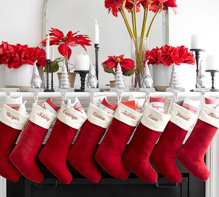 Classic Velvet Personalized Stockings - Red with Ivory Cuff