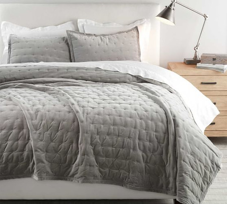 Velvet Tufted Quilt & Shams - Dark Smoke