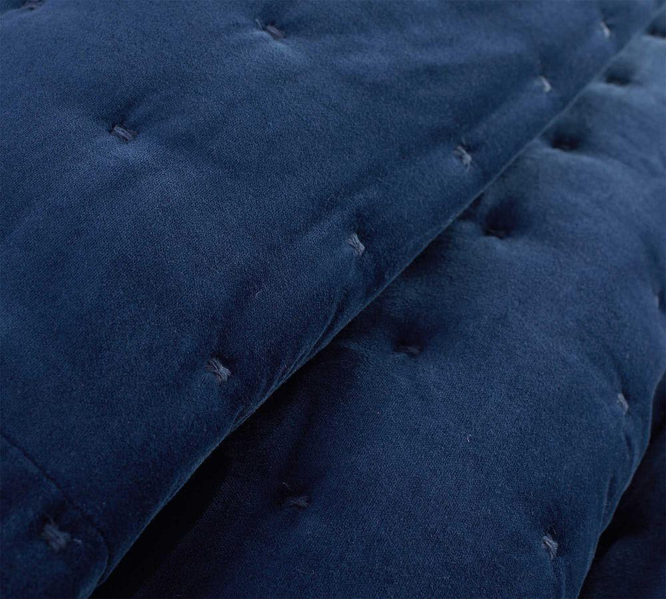 Velvet Tufted Quilt & Shams - Stormy Blue