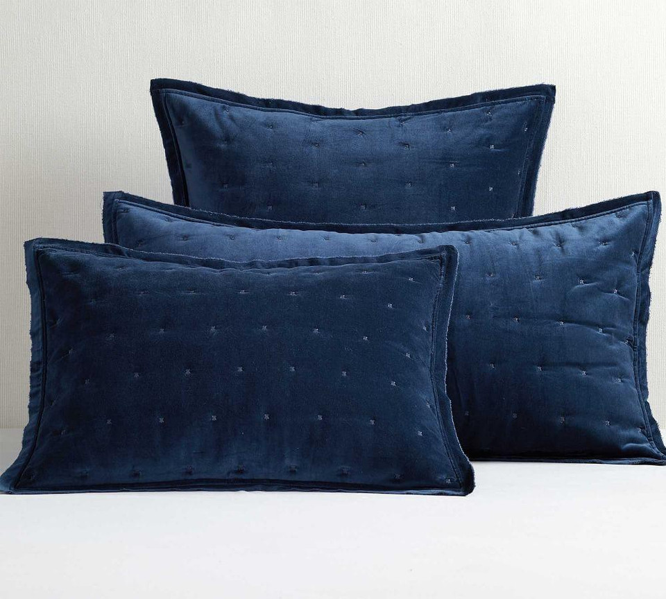 Velvet Tufted Quilted Shams Stormy Blue Pottery Barn