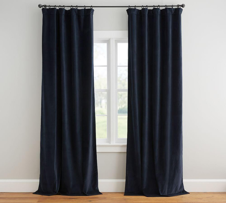Velvet Twill Curtain - Navy