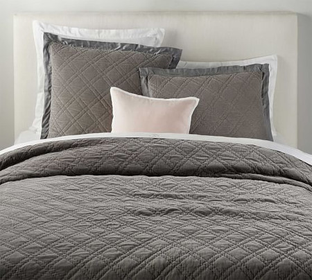 Washed Velvet Silk Blend Quilt & Shams - Flagstone Gray