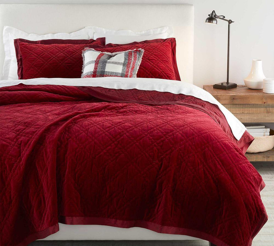 Washed Velvet Silk Blend Quilt & Shams - Ruby