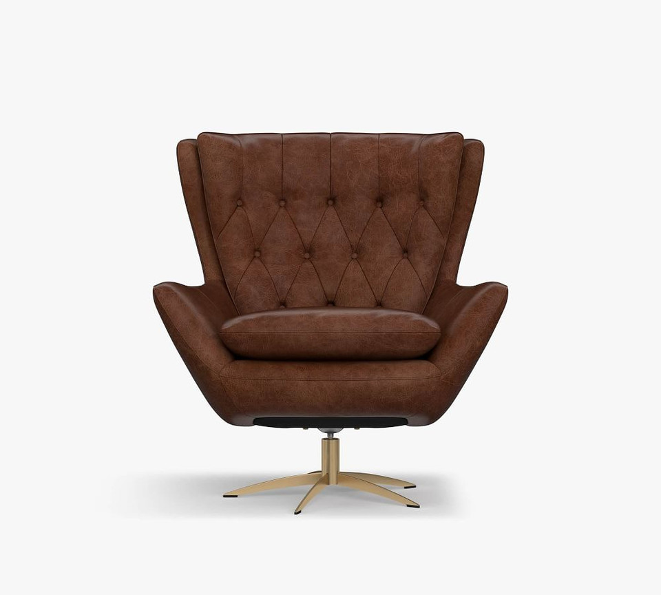 Wells Tufted Leather Swivel Armchair