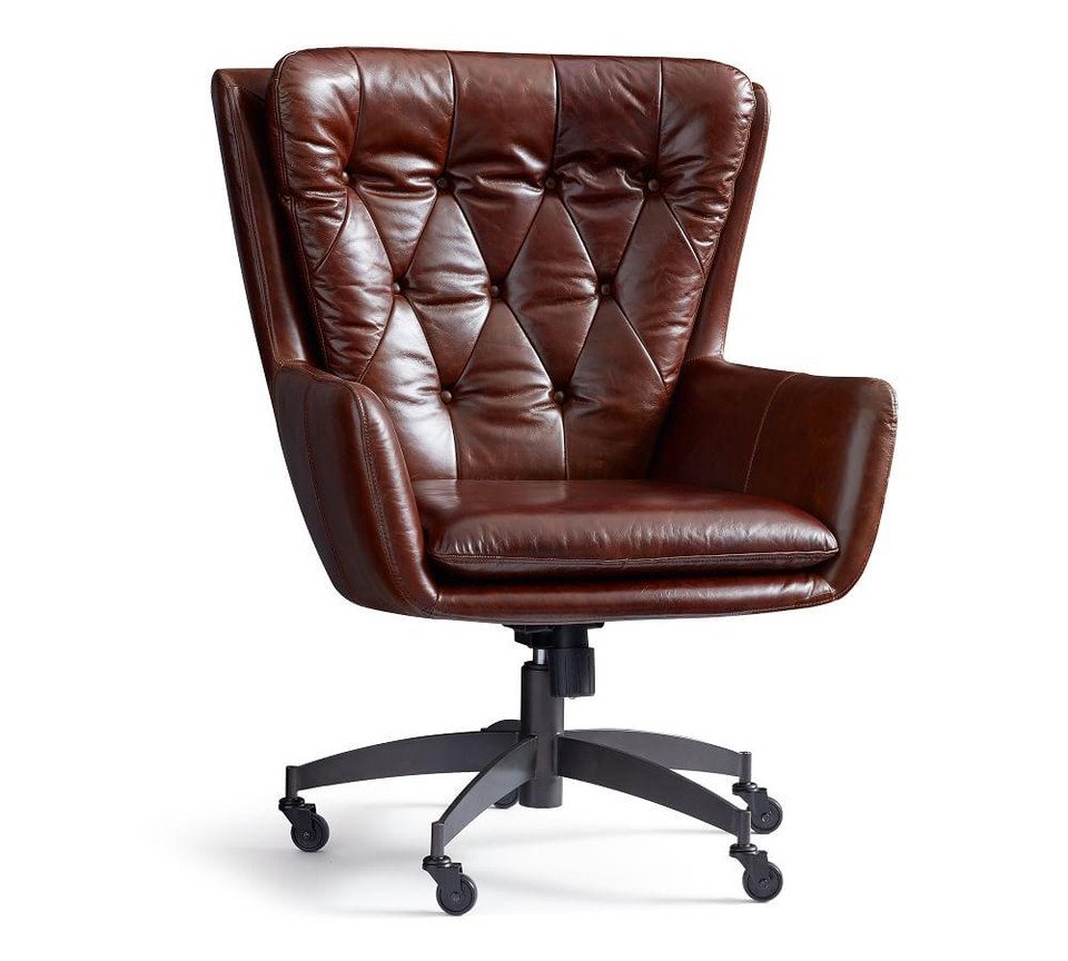 Wells Leather Swivel Desk Chair