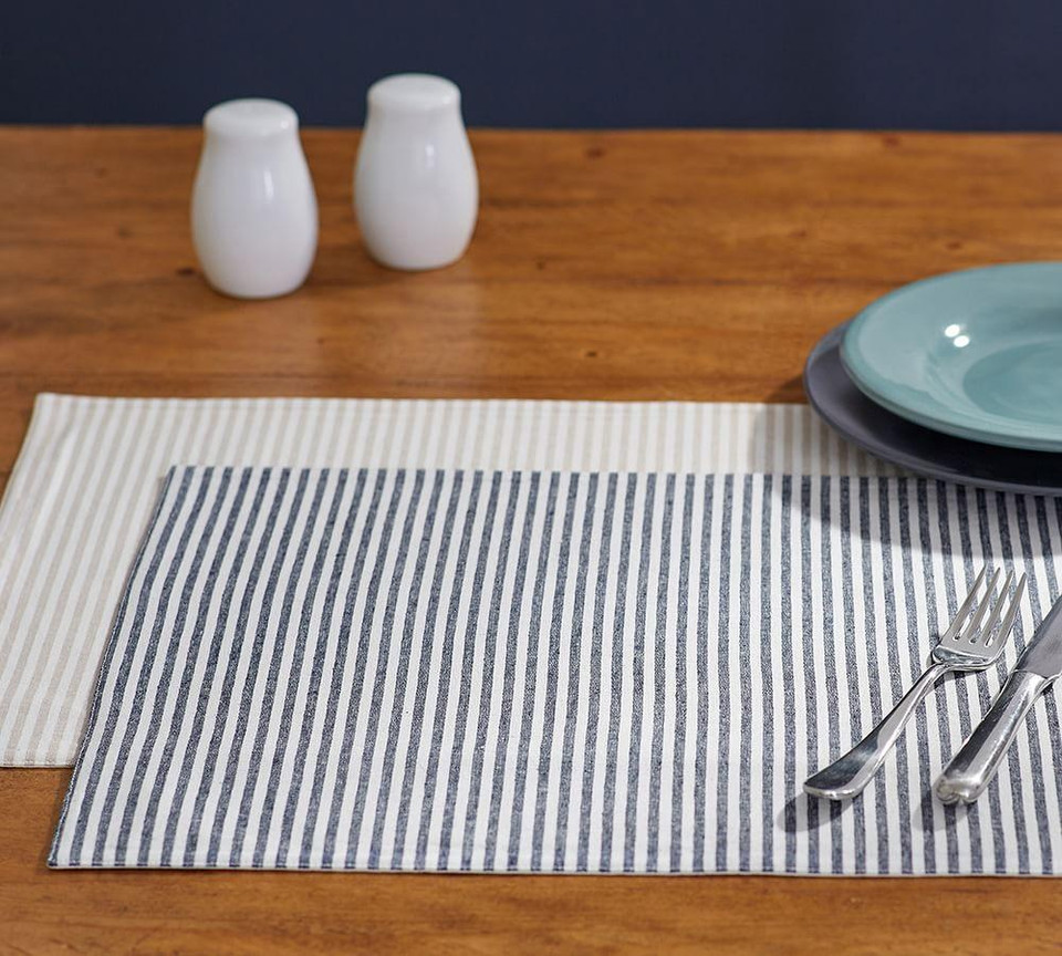 Wheaton Stripe Placemat Navy Pottery Barn Canada