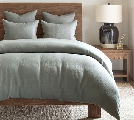 Willow Linen/Cotton Twill Duvet Cover & Shams - Blue