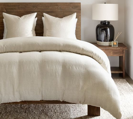 Willow Linen/Cotton Twill Duvet Cover & Shams - Flax