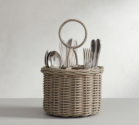 Willow Woven Flatware Caddy - Gray