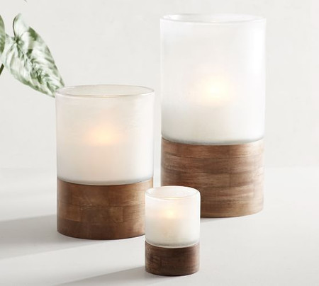 Handcrafted Wood & Frosted Glass Candle Holders