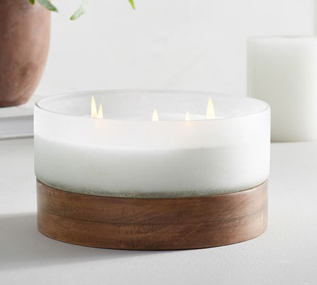 Wood & Frosted Glass Scented Candle - Water Lily & Vetiver