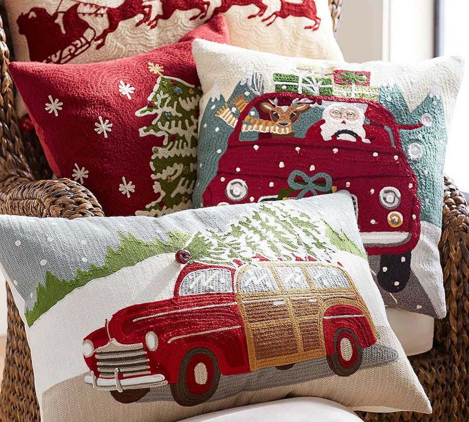 Woody Car Crewel Embroidered Lumbar Pillow Cover