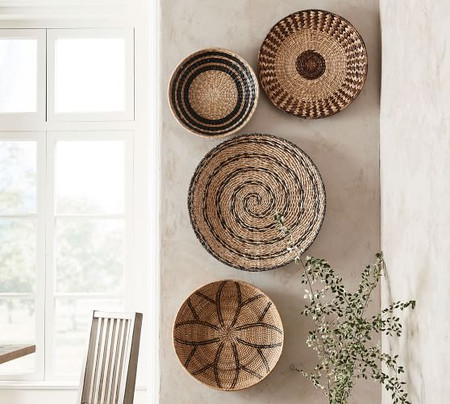 Handwoven Baskets Wall Art - Set of 4