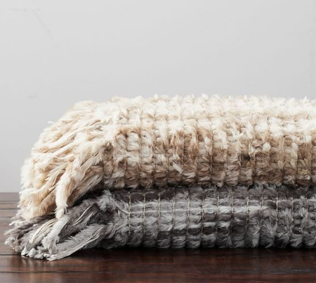 Woven Faux Fur Throw
