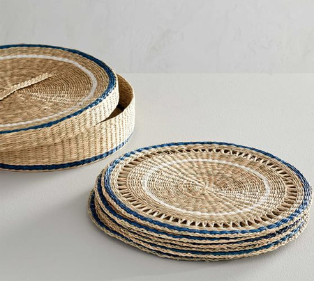 Blue Rim Woven Seagrass Placemats & Holder Set