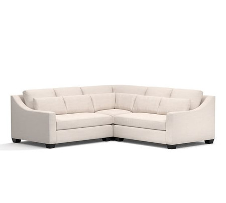 York Slope Arm Deep Seat Upholstered 3 Piece L Shaped with Corner Sectional