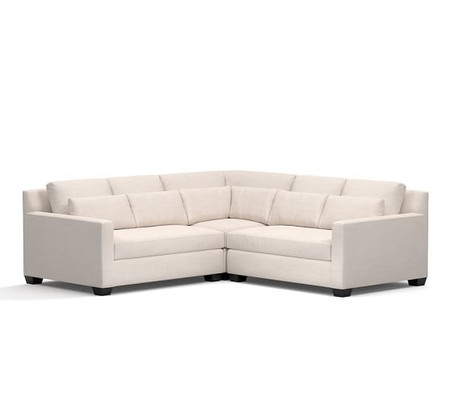 York Square Arm Deep Seat Upholstered 3 Piece L Shaped Sectional with Corner