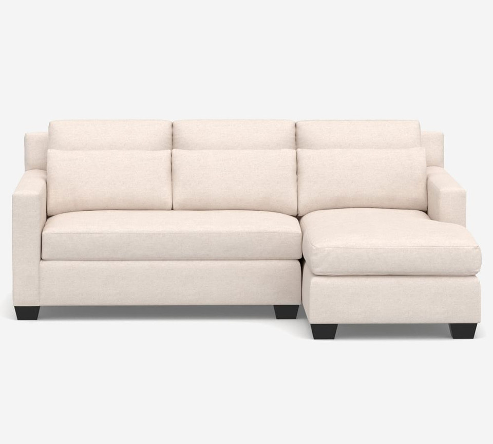 York Square Arm Deep Seat Upholstered Chaise Sofa Sectional