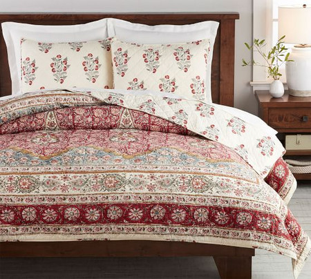 Zarina Print Reversible Cotton Quilt & Shams